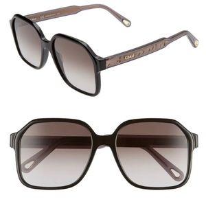 CHLOE Willow 56mm Gradient Rectangular Sunglasses